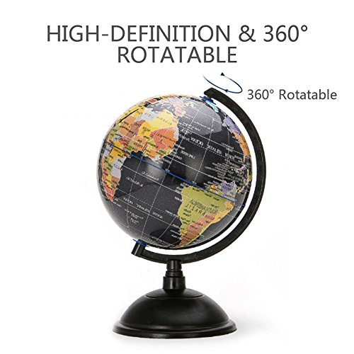 HaloVa World Globe, Desktop 8 inch Spinning Globe with Stand for Kids Students Teachers Geographic Scout Bedroom Decor Educational Gift, Black by HaloVa (Image #2)