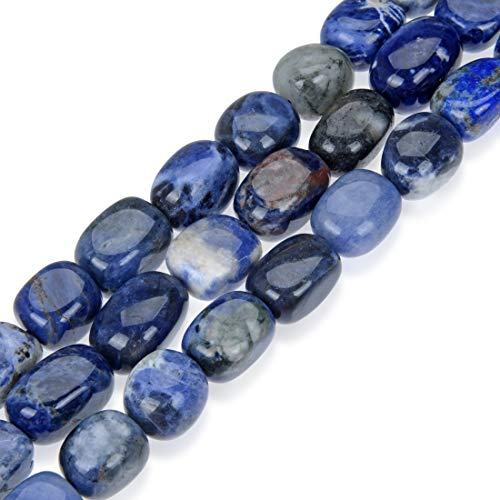 (Top Quality Natural Sodalite Gemstone Round Gem Nugget 10-13mm Loose Stone Beads 15 Inch for Jewelry Craft Making)