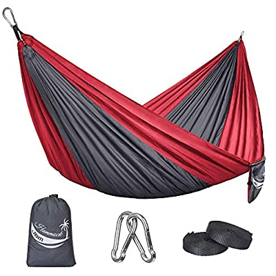 JBM Camping Hammock Single & Double Portable Lightweight Parachute Hammock Outdoor Hiking Travel Backpacking - Nylon Hammock Swing - Support 400lbs with Nylon Ropes and Steel Carabiners