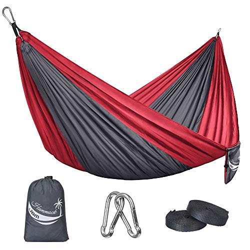 JBM Camping Hammock Single & Double Portable Lightweight Parachute Hammock Outdoor Hiking Travel Backpacking - Nylon Hammock Swing - Support 400lbs with Nylon Ropes (Gray & Red)