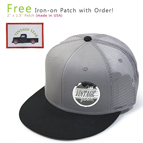 Plain Cotton Twill Flat Brim Mesh Adjustable Snapback Trucker Baseball Cap (Black/Gray/Gray) Cotton Trucker Cap