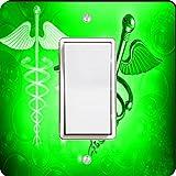 Rikki Knight 8866 Single Rocker Green Medical Doctor Symbol Design Light Switch Plate