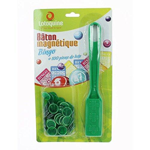 Magnetstab + 100Spielsteine für Bingo/ Tombola (grün) Lotoquine BSK1B2