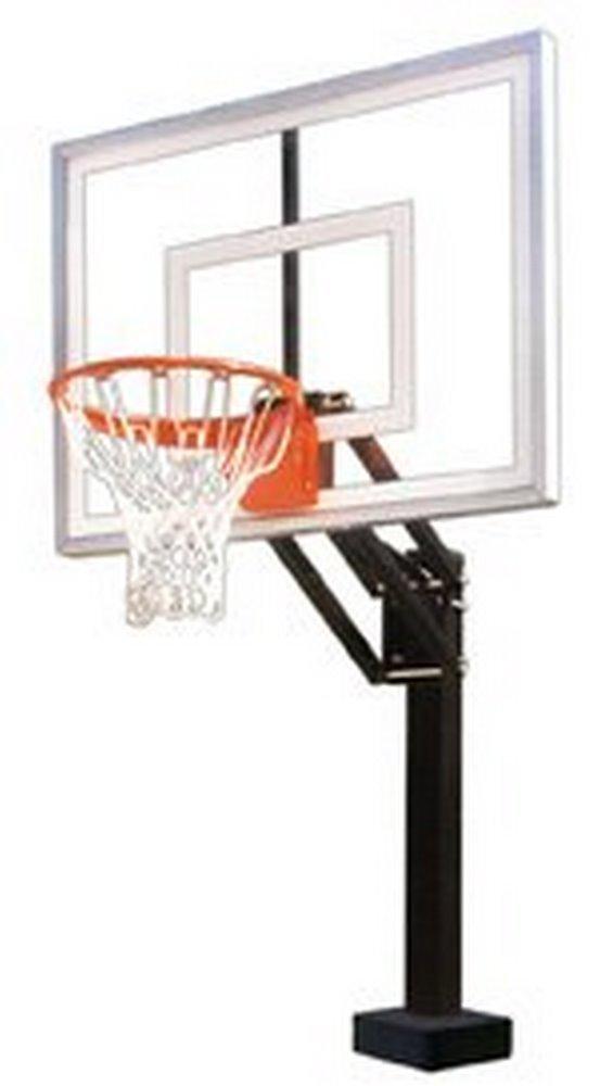 最初チームhydrochamp IIステンレスsteel-acrylic調整可能プールサイドバスケットボールsystem44、スカーレット B01HC0D2YG