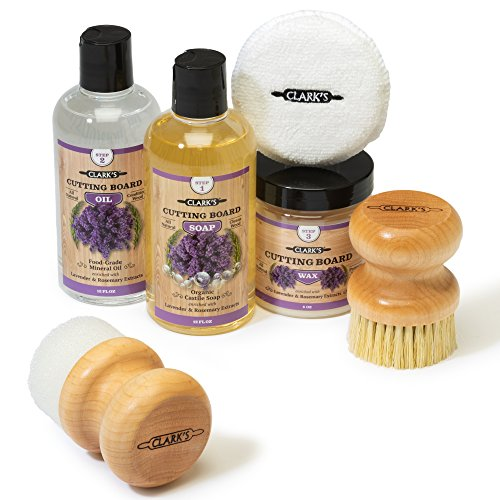 CLARKS Complete Cutting Board Care Kit | Cutting Board Oil (12oz) - Soap (12oz) - Finish Wax (6oz) - Applicator - Scrub Brush - Finishing Pad | Lavender & Rosemary