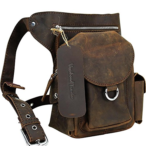 Vagabond Traveler 10'' Leather Waist Pack (Dark Brown) by Vagabond Traveler