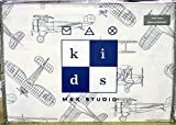 Max Studio Kids Vintage Airplane Schematic Line Drawing Sheet Set, Twin Size