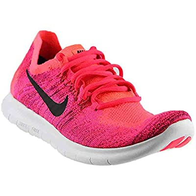Nike Free Rn Flyknit 2017 Size 7 Womens Running Solar Red/Black-Bright Mango-Deadly Pink Shoes