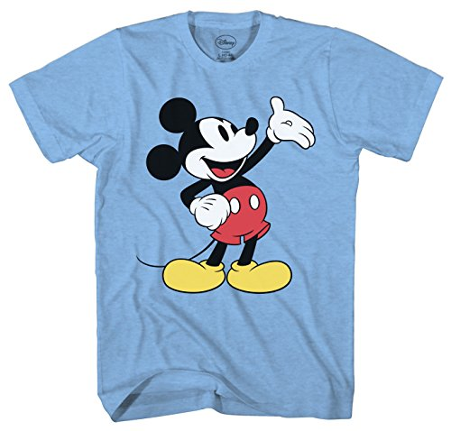 ckey Mouse Wave Men's Adult Graphic Tee T-Shirt (Light Blue Heather, XX-Large) ()