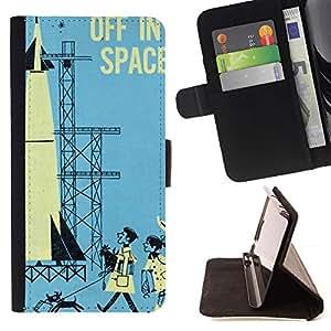 Momo Phone Case / Flip Funda de Cuero Case Cover - Retro Vintage Espacio Azul Niños Rocket - Samsung Galaxy S6 Edge Plus / S6 Edge+ G928
