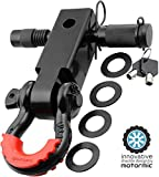 "motormic Shackle Hitch Receiver 2"" + 5/8'' Trailer Lock Pin and 3/4'' D Shackle (35,000 lbs Max Capacity) – Heavy Duty Off Road Recovery Black D Ring with 4 washers + Red Isolator for Jeep Towing"
