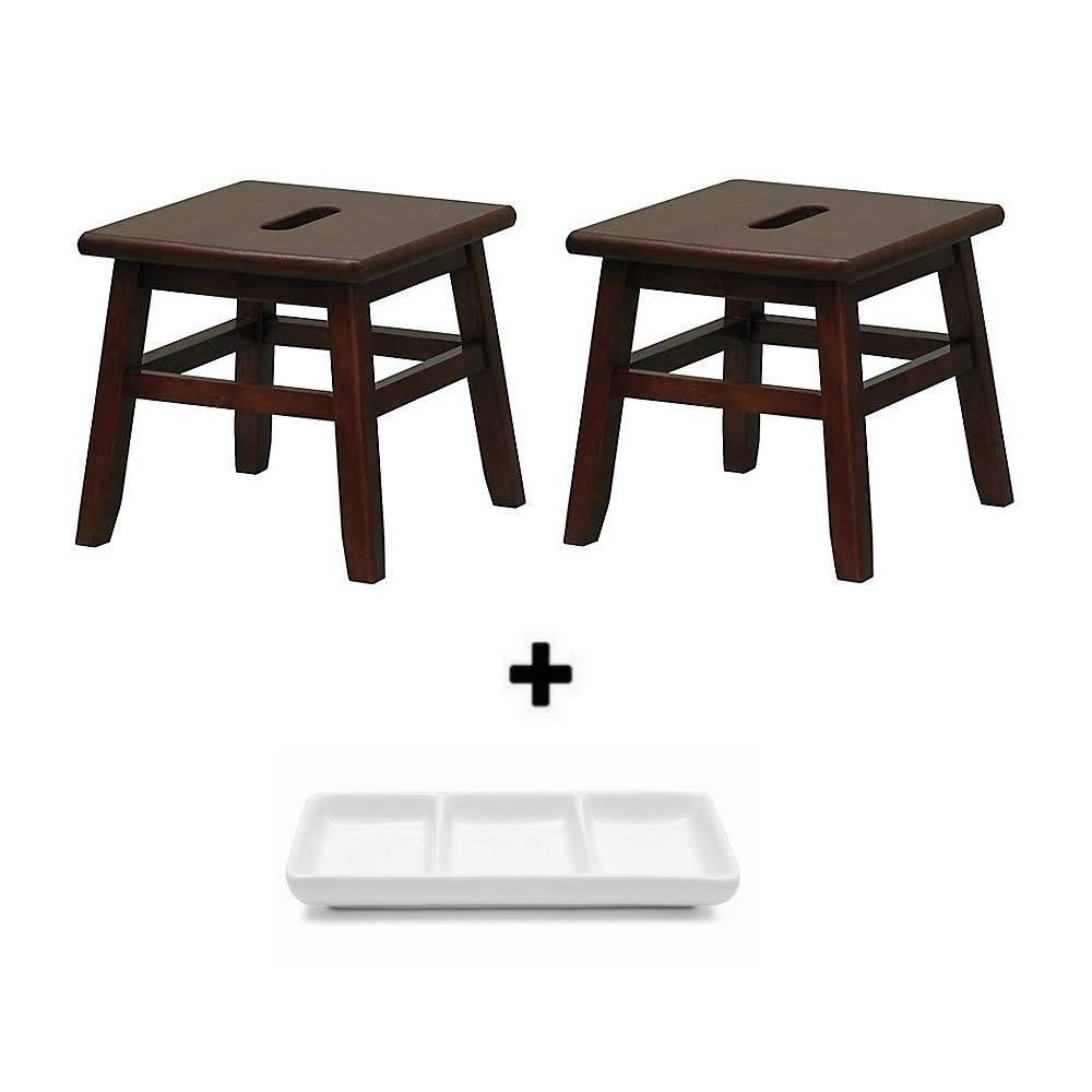 Gneric Porter Slotted Top Step Stool in Measures 12'' D x 12'' W x 12'' H (Walnut, 2 Pack)