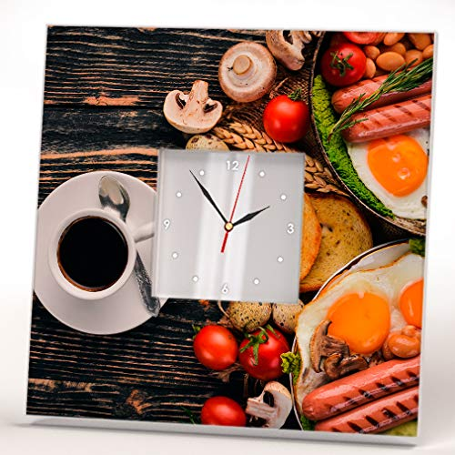 Desayuno Inglés Completo Fondo Madera Reloj De Pared Espejo Comida Art Cafe Decor Diseño Regalo