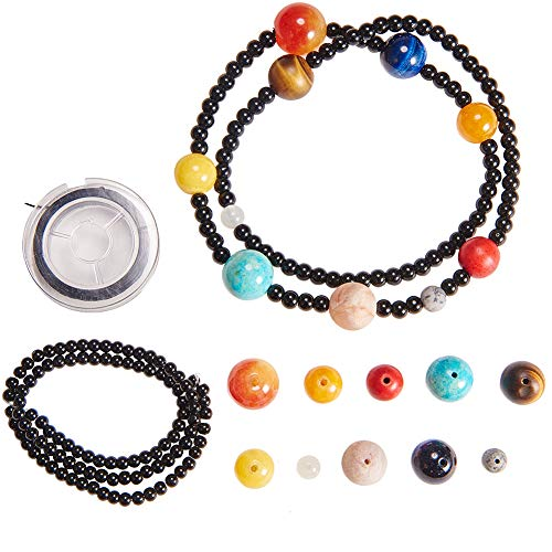 (SUNNYCLUE 1 Box DIY 1pc Multilayer Solar System Bracelet Making Kit Natural Gemstone Universe Galaxy The Nine Guardian Planets Necklace Jewelry Making Starter Supplies)