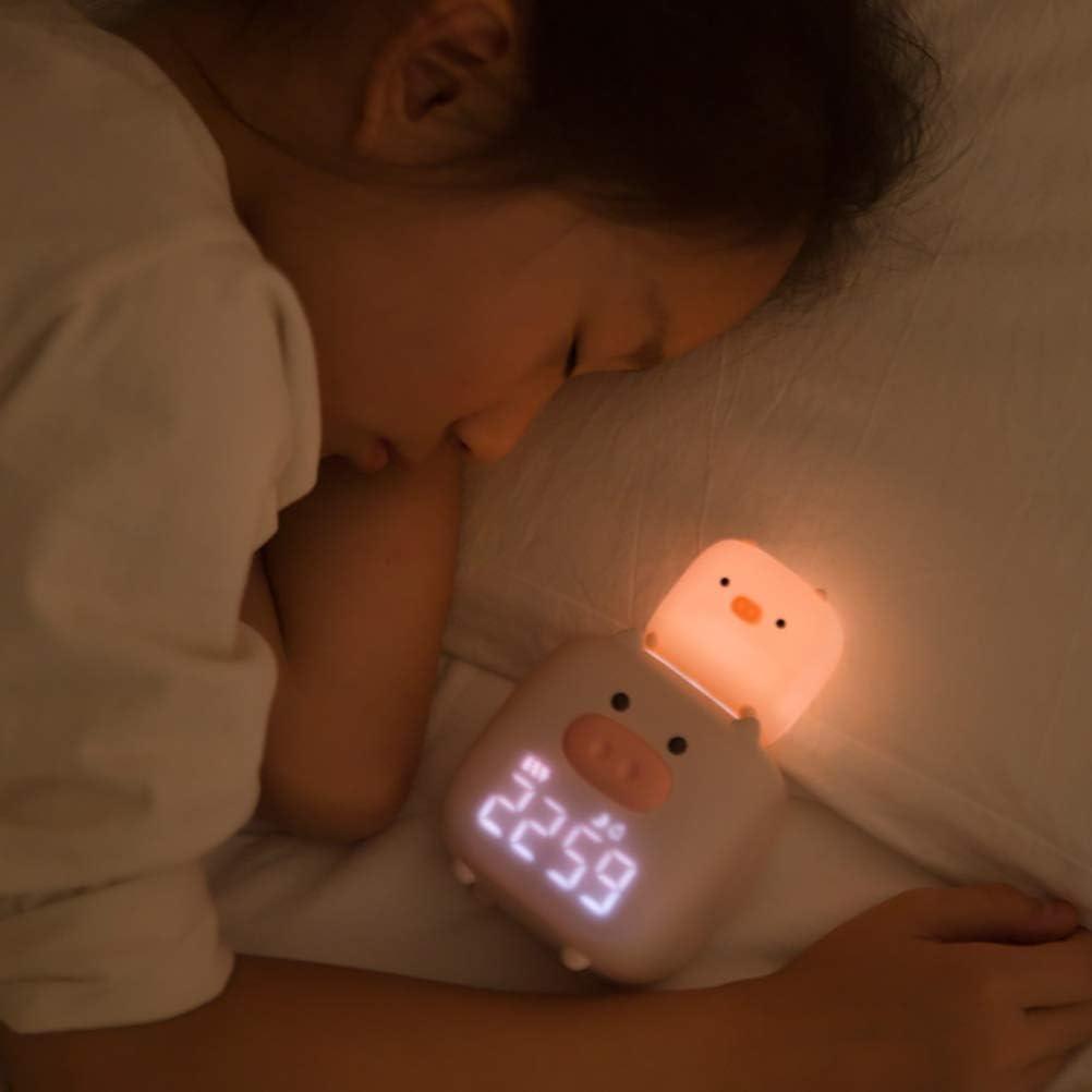 shenruifa R/éveil de chevet avec veilleuse et LED en forme de cochon