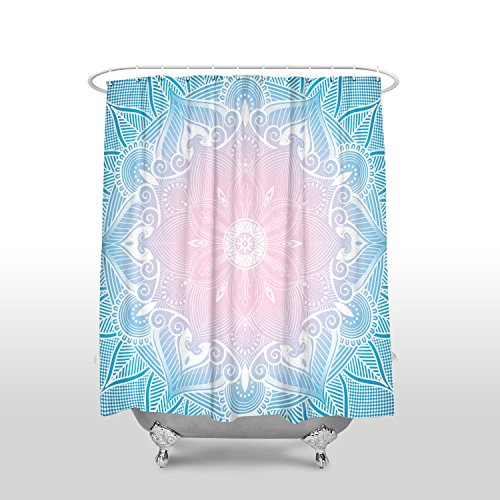 Crystal Emotion Fabric shower curtains Bathroom Decor Set with Hooks,Paisley Medallion Mandala Decor,Hippie Boho Bohemian Decorations Geometric Decor Meditation Art Blue pink gradient 36x72inch by Crystal Emotion