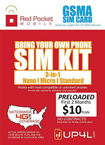 Red Pocket Mobile Prepaid GSMA SIM Card - Preloaded Simple No Contract Plan Includes 2 Months of Service on $10/mo Plan 500/Txt 500/Min 500MB/Data - Smartphone Cell Android with Minutes Included