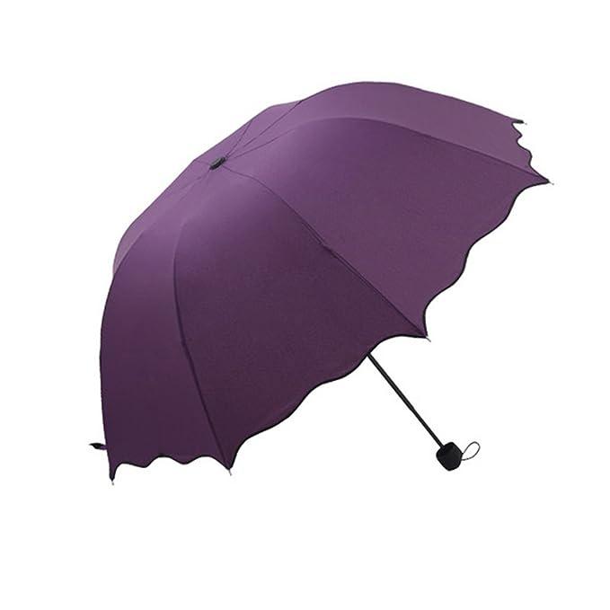 Paraguas para todo clima, Paraguas de protección UV, Paraguas con forma de domo para la lluvia, Paraguas anti UV con Auto Open Stick, Paraguas de viaje ...