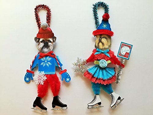 Griffon Ornaments (Brussels Griffon ICE SKATER Christmas ornaments holiday dog ornaments vintage style chenille ORNAMENTS set of 2)