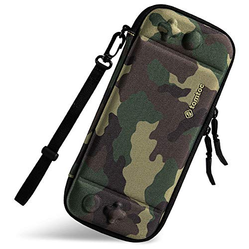 Ultra Slim Carrying Case Fit for Nintendo Switch, tomtoc Original Patent Portable Hard Shell Travel Case Pouch Protective Cover, 10 Game Cartridges, Military Level Protection, Camouflage