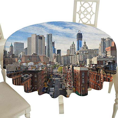 Banquet Round Tablecloth 70 Inch City,Lower Manhattan Cityscape Famous Travel Destination NYC Avenue Historical Dark Orange Grey Blue for Home,Party,Wedding & More -
