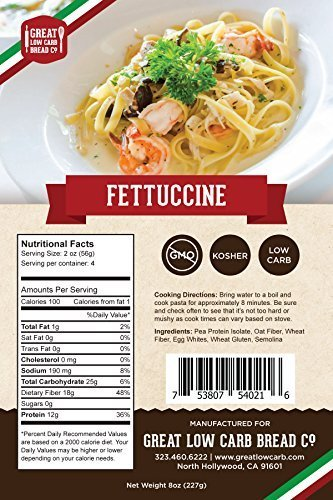 Great Low Carb Bread Company - Fettuccine Pasta, 8 ounces (Best Low Carb Pasta Substitute)