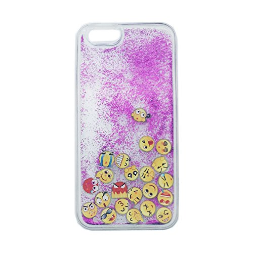 Dark Purple Case (iPhone 6 Plus Case, iPhone 6S Plus Case,, iPhone Case,S-Chilli Glow in the Dark 3D Bling Glitter Sparkle Liquid Case, Funny QQ Emoji Face Smiley Face TPU Back Cover For)