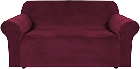Loveseat Cover Furniture Protector for Pets with Side Pocket ACOMOPACK Premium Velvet High Stretch Loveseat Slipcovers Spandex Wine Red Loveseat Couch Covers for 2 Cushion Couch