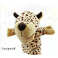 Un ncie Finger Puppet Toy Animal Hand Puppets Zoo Safari Farm Wildlife Movable Open Mouth Plush Pretend Toys(Leopard)