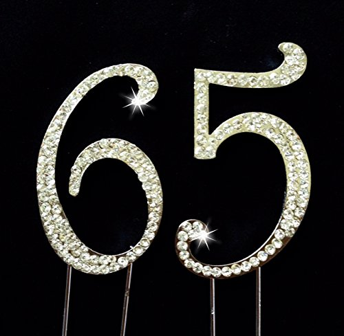 65th Birthday / Wedding Anniversary Number Cake Topper with Sparkling Rhinestone Crystals - 2.75