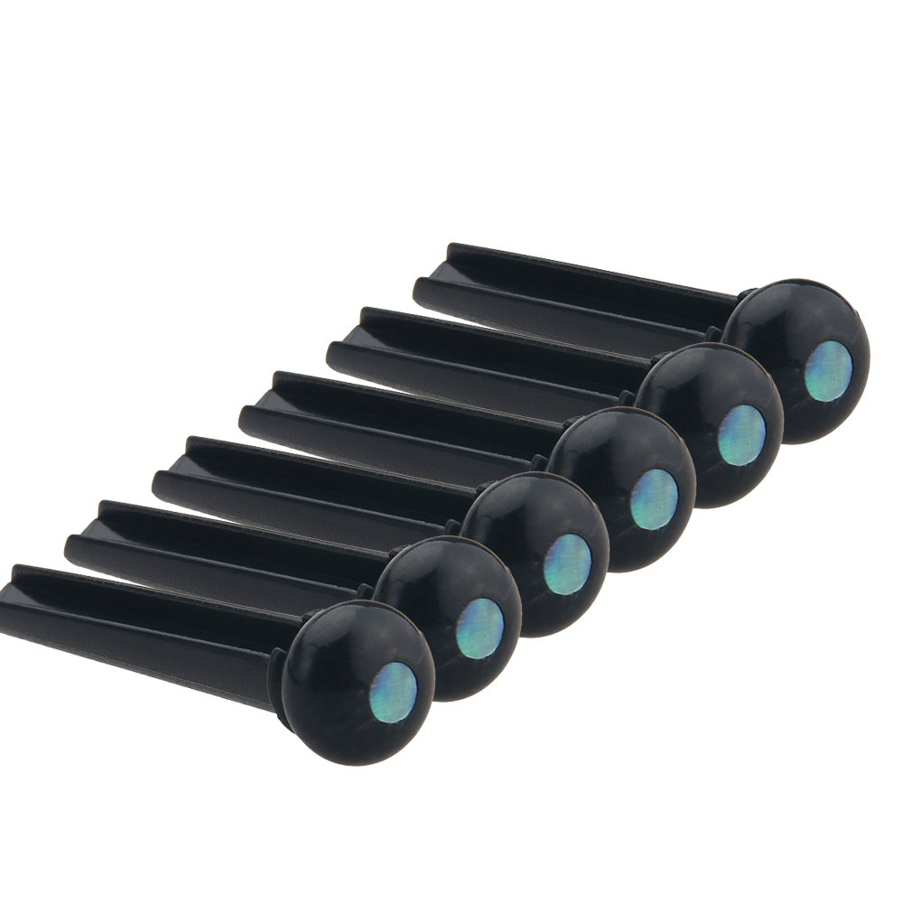 Kmise Z4840H6 6 Piece Black Acoustic Guitar Bridge Pin with Abalone Dot Inlay Plastics Slotted