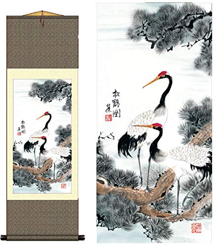- Grace Art Asian Wall Scroll, Cranes Resting in a Pine Tree