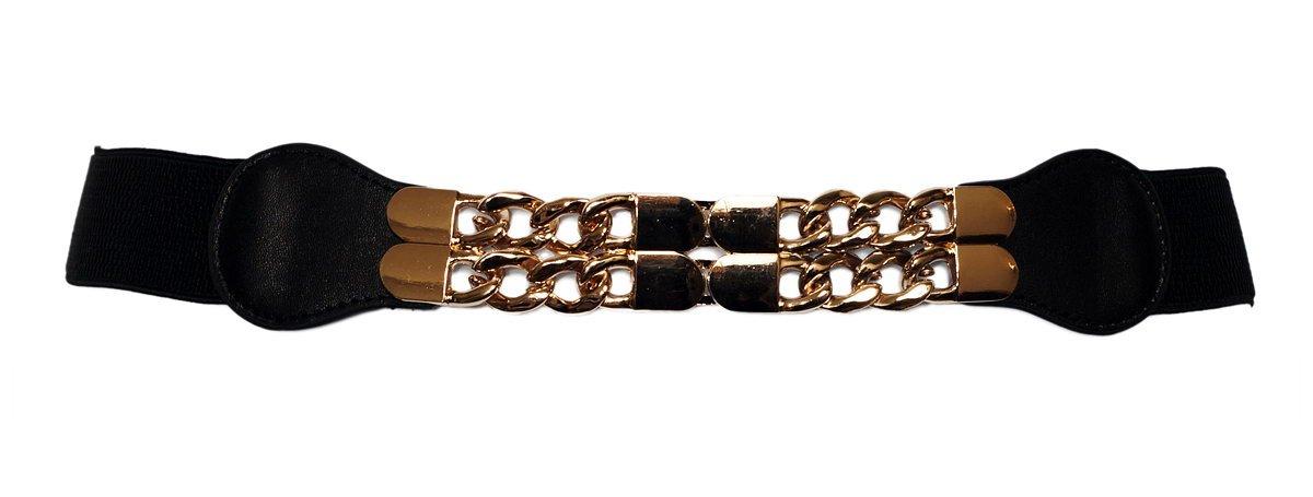 eVogues Plus Size Gold Chain Link Buckle Elastic Belt Black - One Size Plus