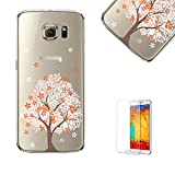 For Samsung Galaxy S7 Edge Case with Free Screen Protector.Funyye Pink Cherry Floral Pattern Crystal Clear Soft TPU Gel Slim Case for Samsung Galaxy S7 Edge-Sakura Tree