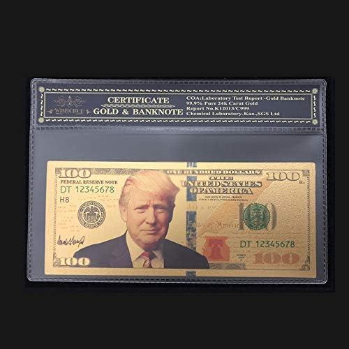 ZYZRYP 最新USAトランプ紙幣100ドル紙幣ゴールドコレクション通貨工芸のために24K金でCOAフレームで 使いやすい (色 : A)