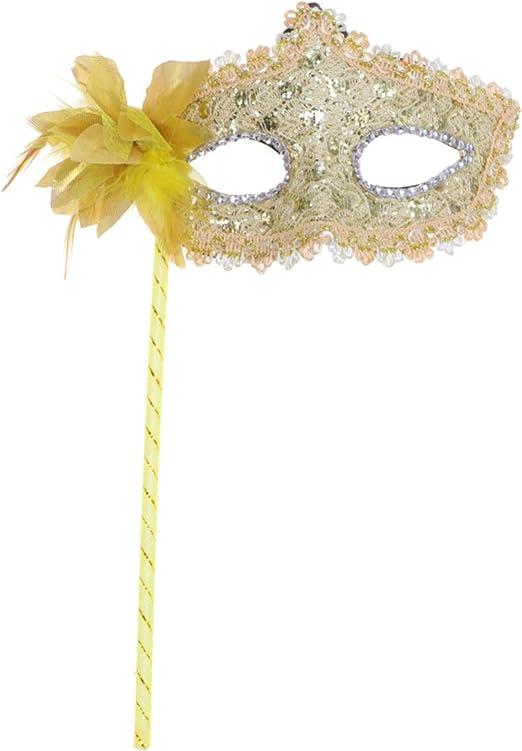 Amosfun máscara de Disfraces con Palo Pluma de Encaje máscara ...