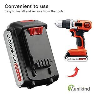 Munikind 2 Pack LBXR20 Replace for Black & Decker 20 Volt Battery 2000mAh Lithium-Ion Max LBXR20 LB20 LBX20 LST220 LBXR2020-OPE LBXR20B-2 LB2X4020 Cordless Tool Batteries