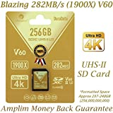 Amplim 256GB UHS-II SDXC SD Card. Blazing Fast Read 282MB/S (1900X). Class 10 U3 Ultra High Speed V60 UHSII Extreme Pro SD XC Memory Card. 4K 8K Professional Video 256 GB/256G TF Flash. New 2018