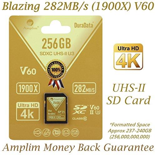 Amplim 256GB UHS-II SDXC SD Card. Blazing Fast Read 282MB/S (1900X). Class 10 U3 Ultra High Speed V60 UHSII Extreme Pro SD XC Memory Card. 4K 8K Professional Video 256 GB/256G TF Flash. New 2018