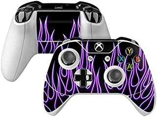 product image for Purple Neon Flames Skin Decal Compatible with Microsoft Xbox One and One S Controller - Full Cover Wrap for Extra Grip and Protection