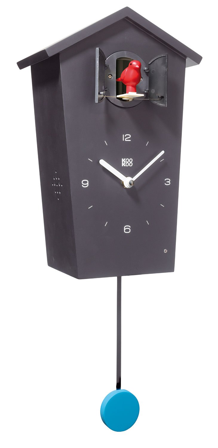 KOOKOO Birdhouse Black, Modern Cuckoo Clock w. 12 Natural Bird Voices or Cuckoo Call, Design Clock w. Pendulum, Natural Field Recordings by Jean-Claude Roché by KOOKOO