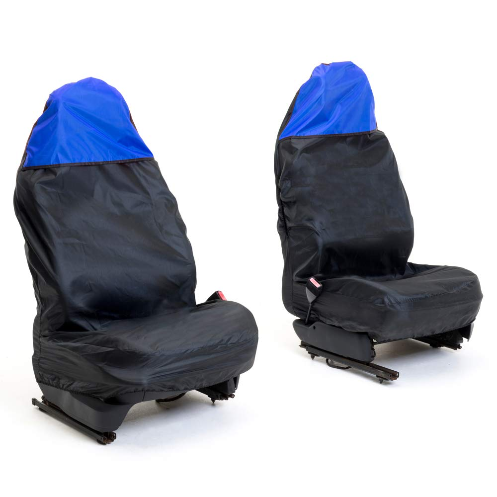 Auto Companion AUTOC-45 Universal Black Front Waterproof Seat Cover with Blue Top, Set of 2