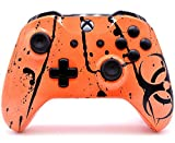 ''Toxic Orange'' Xbox One S Rapid Fire Custom Modded Controller 40 Mods for All Major Shooter Games, Auto Aim, Quick Scope, Auto Run, Sniper Breath, Jump Shot, Active Reload & More (with 3.5 jack)