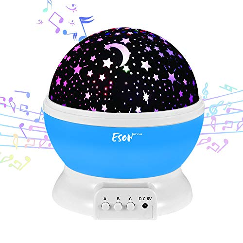 ([Update]Esonstyle Musical Night Light,360 Rotating Star Lamp Baby Musical Lamp with Rechargeable Battery,12 Songs to Relax for Sleep Kids Babies Birthday Children Day Christmas Gift)