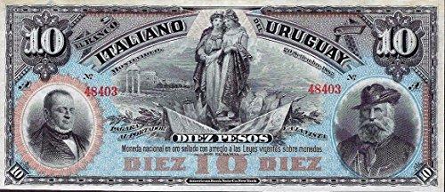 1887 UY STUNNING 1887 URUGUAY 10 PESO BANKNOTE! MULTICOLOR GEM ENGRAVED BY AMERICAN BANK NOTE CO. 10 Pesos Choice Crisp Uncirculated