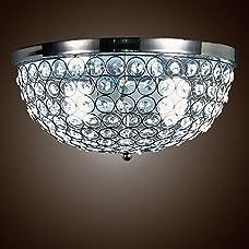 SwanHouse Flush Mount Chandelier Pendant Ceiling Lighting Silver Modern KMQ-D-2L W13 x H7
