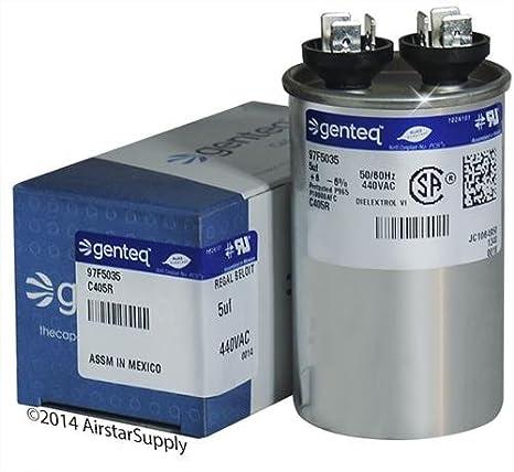 GE Genteq • 45 uf  440 VAC • Round Run Capacitor • C445R • 97F9645