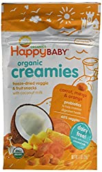 Happy Baby Organic Creamies Freeze-Dried Veggie & Fruit Snacks with Coconut Milk, Carrot, Mango & Orange, 1 oz (Pack of 8) - Packaging may vary