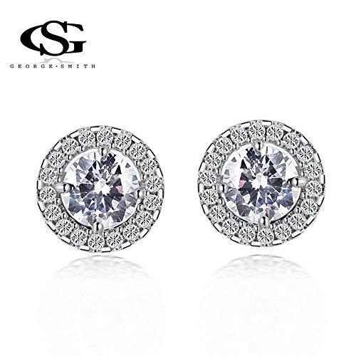 UPC 707948603040, G&S Platinum Plated Big Cubic Zirconia Earrings Charm Stud Handmade Gift for Women Girls Wife