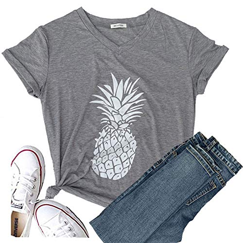 Hellopopgo Pineapple Printed Funny T Shirt Women's Summer Tops Fruits Lover Short Sleeve Graphic Tees Tops Girl (XX-Large, Light Grey)